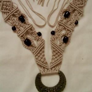 Gray Macrame Statement Necklace, Bracelet & Earring Set W/ Buckle & Beads