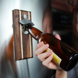 Bottle Opener Magnetic Cap Catcher - Handcrafted Walnut Wood with Alder Inlay with Antique Bronze Opener