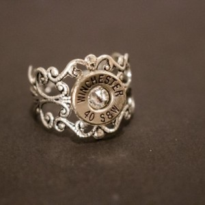 Antique Silver or Brass Filigree Adjustable Bullet Ring