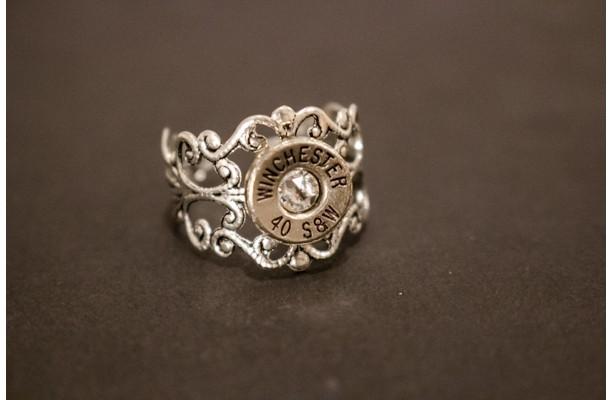 Antique Silver or Brass Filigree Adjustable Bullet Ring