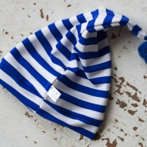 0-3 mo Elf - Hobbit - Gnome - Dwarf Hat with PomPom Tail. Newborn hat in blue and white striped fabric.