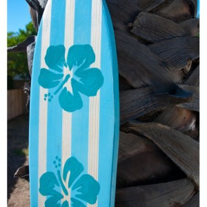 Light Blue / Aqua Hibiscus Flower - Hanging Surf Board Sign