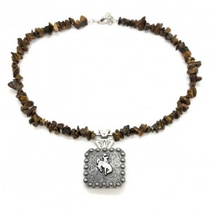 Bucking Bronc Concho Necklace with Tiger Eye Chips