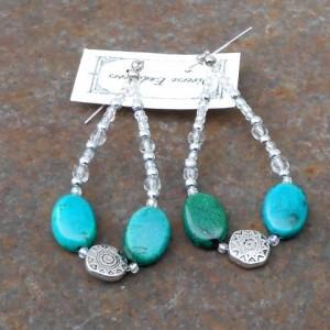 Earrings- Turquoise Southwest Style Disc Bead, Aurora Borealis