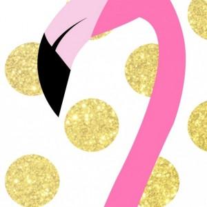 Pink and Gold Flamingo   Flamingo Art Print   Nursery Wall Decor   Girl's Room Art Print   Pink and Gold Polka Dots