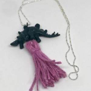 Teal Stegosaurus Dinosaur Tassel Necklace - Dinosaur Jewelry