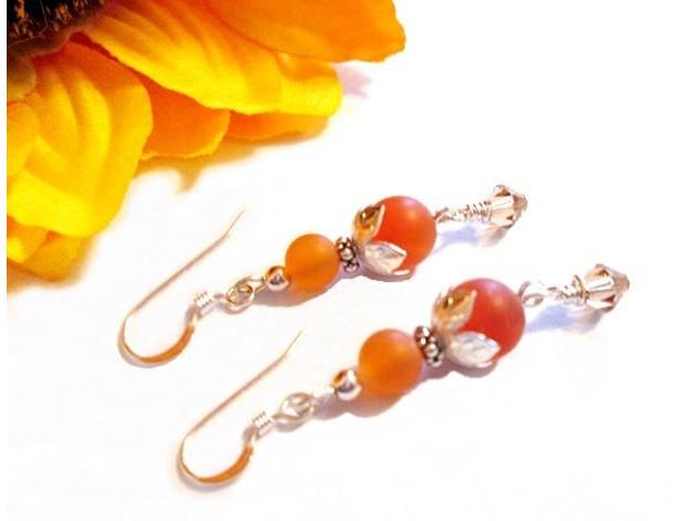 Carnelian Gemstone Sterling Silver Earrings, Carnelian Silver Earrings, Carnelian Stone, Carnelian Beads, Jewelry on Sale, Gift for Her