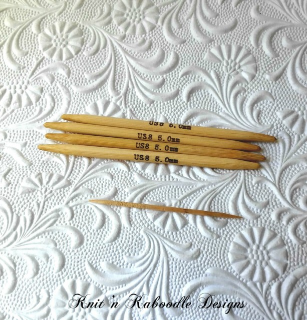 8US (4 Inches SHORT) DoublePointed Knitting Needles Bamboo