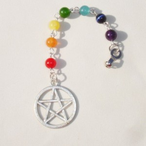 Rainbow Chakra Gemstone Pentagram Ceiling Fan Light Chain Pull Home Decor Accent