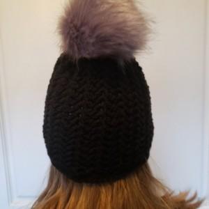 Ready to Ship!  Black beanie with faux fur pom pom! Ready to go!