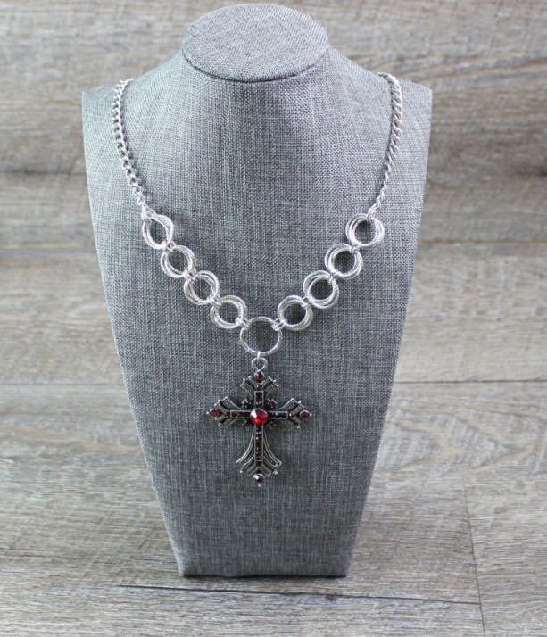 Pewter Cross with Red Accents on a Spiral Rosette Chainmaille Necklace