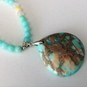 Mint Green Glass Beaded Sea Sediment Necklace