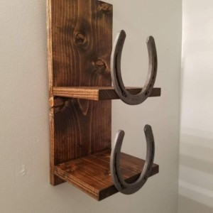 Rustic Horseshoe Towel Rack, Two Shelf