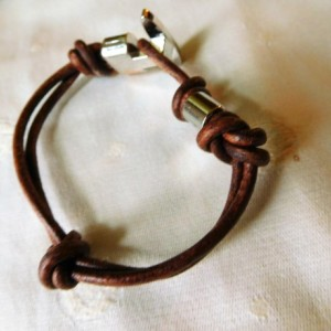 Brown leather 3mm cord bracelet design  #B00212