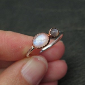 Ready to Ship  Size 8.5 Mixed Metal Recycled Sterling Silver and Copper Rainbow Moonstone and Grey Moonstone Ring