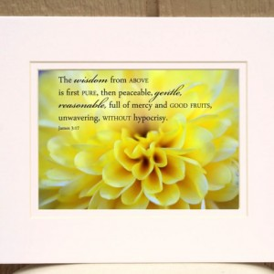 James 3 verse 17 - Yellow chrysanthemum photo - Fall decor, Christian wall art, Bible verse wisdom, Scripture art, religious wall art