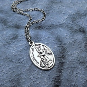 Personalized Saint Michael and Guardian Angel Necklace. Protection Necklace