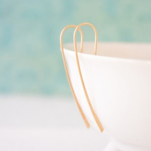 Organic Gold or Silver Hook Earrings