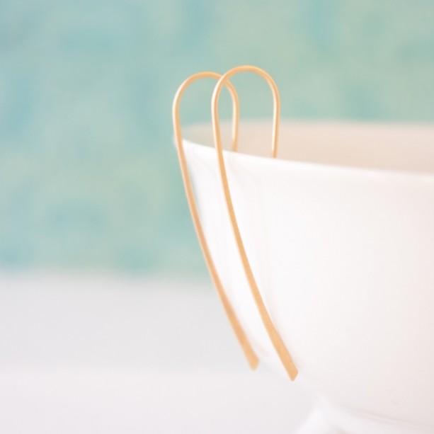 Organic Gold or Silver Hook Earrings