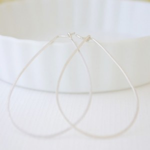 Large Gold or Silver Teardrop Hoop Earrings