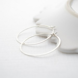 Hand hammered gold or silver 1 inch Hoops