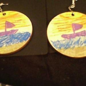 Beach Sunset Sail Boat Hand Painted Earrings. Homemade Jewelry