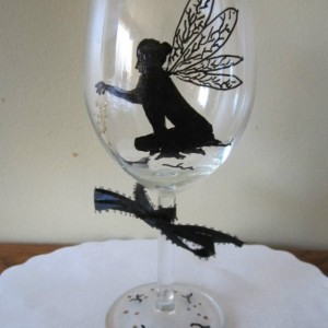 Fairy Tinkerbell Hand Painted Glass sprinkling Gold Dust Wine Glass