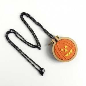 Pumpkin Embroidery Necklace-Pumpkin Necklace-Jack-o-Lantern Necklace-Halloween Necklace-Jack-o-Lantern Embroidery-Halloween Embroidery