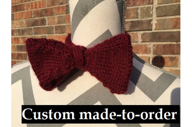 Custom Made to Order Bow Tie, Hand Knit, Pick your color