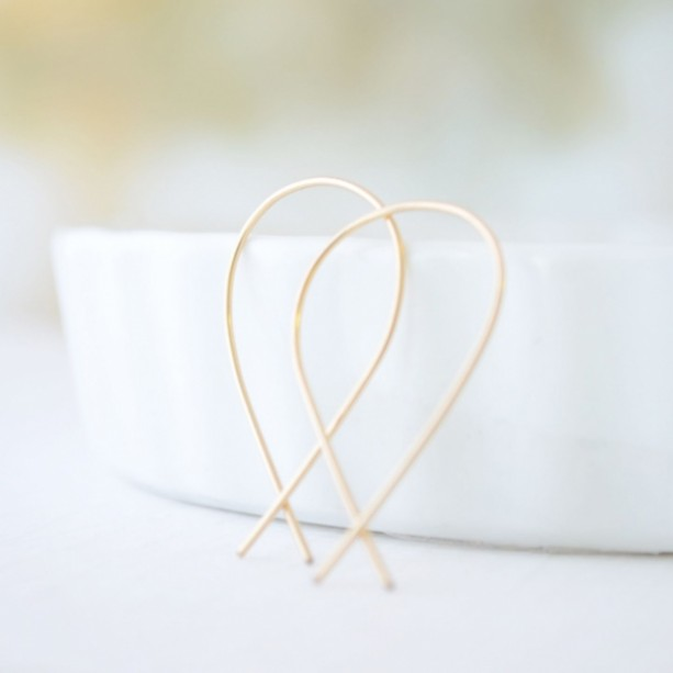 Silver or Gold Inverted Teardrop Hoops
