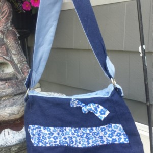 Blue Denim and Floral Gathered Petite Handbag- OoaK