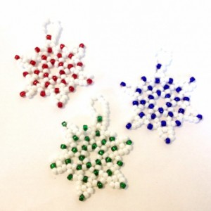 3 Snowflake Ornaments, Red, Green, Blue and White Snowflake Ornaments, Handmade Christmas Tree Decoration, Beaded Christmas Ornament