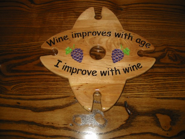 Wine Caddy - 4 glass holder - Wine Improves With Age I Improve With Wine