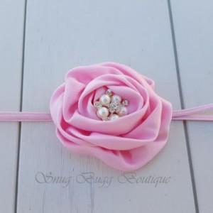Pink Satin Headband, Satin Puff Flower, Newborn Photo Headband