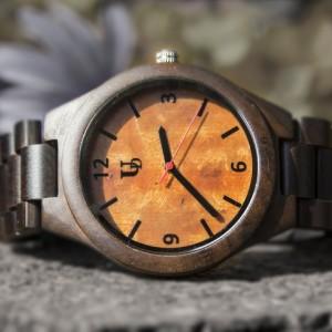 Unique Engraved Mens Dark Round Wooden Watch