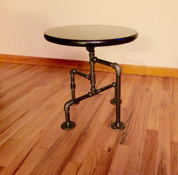 Industrial Black Pipe Table, End Table, Man Cave Table, Bar Table, Steampunk