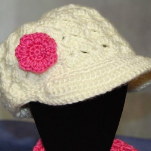 Adult/Teen Crochet Hat, Beanie with Brim with Flower, Scarf