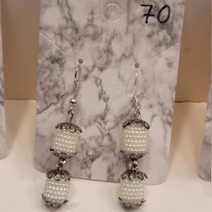 White bead earrings