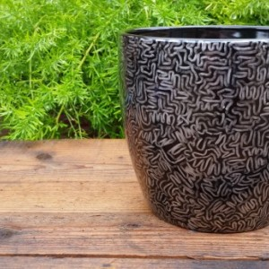 "Black Ceramic Pot with Beautiful Silver Hand-Drawn ""Single Line Design"""