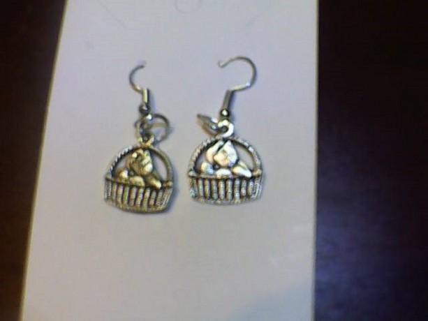 Homemade Heart Key Silver Tone earrings