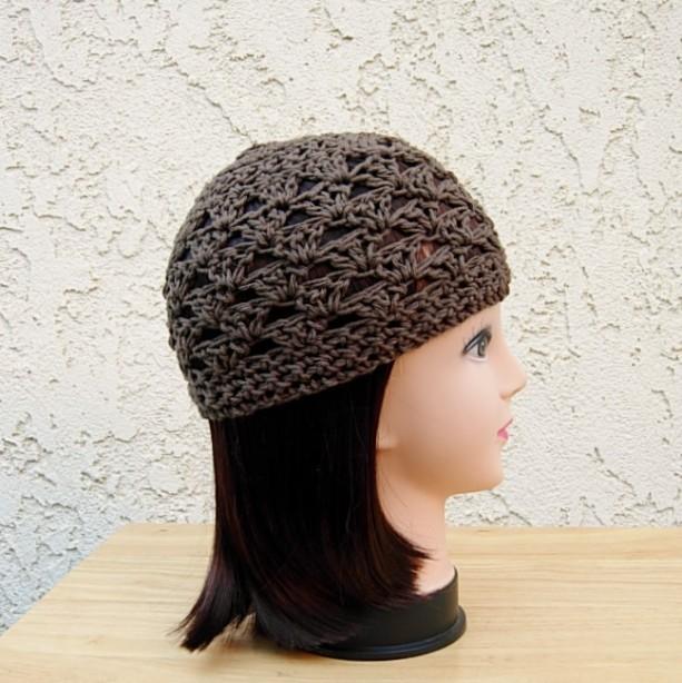 Medium Solid Brown 100% Cotton Lacy Summer Beanie, Women's, Men's Lightweight Hat, Chemo Cap, Crochet Knit Lace Skullcap Ships in 3 Biz Days
