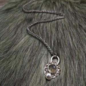 Rutilated Quartz Sunburst Sterling Silver Necklace