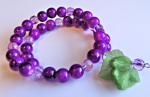 Purple Grape Beaded Bracelet