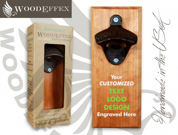 Bottle Opener Magnetic Cap Catcher - Handcrafted Cherry Wood with Antique Bronze Opener - Custom Text/Logo/Design