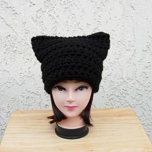 Large Black Wool Cat Hat