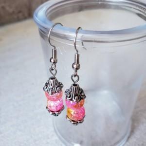 Beautiful Handmade Crackle Glass Dangle Drop Earrings