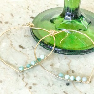 hand-hammered hand wrapped gold filled Natural Jade hoop earrings