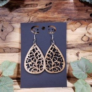 Wooden- Bohemian - Teardrop Dangle Style - Laser Cut - Lightweight- Birthday Gift - 3 Finishes Available - Natural, Brown or Lt Red Stained
