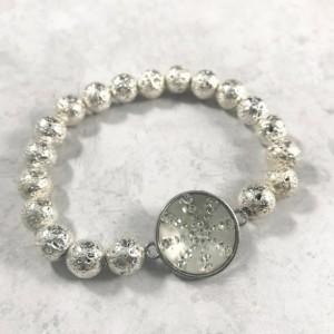 The Nikki   handmade bead bracelet, women's bracelets, metallic volcanic lava rock beads, frosted glass bezel, Gifts for Her