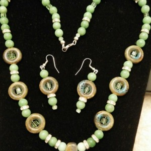 Lucky Green Necklace and Earring Set